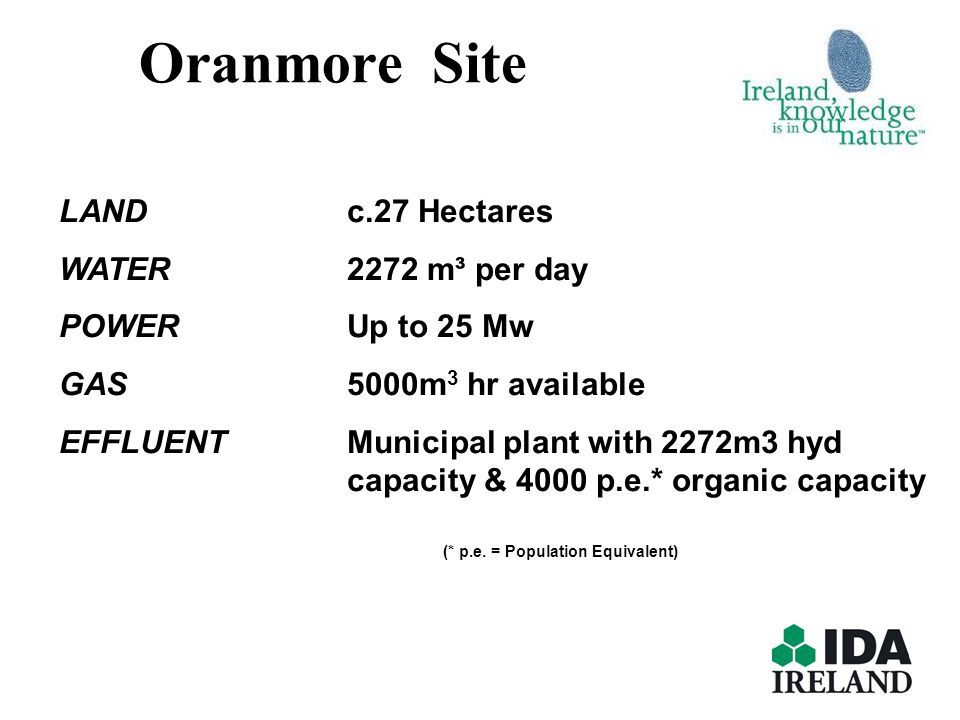 Oranmore Site LAND c.27 Hectares WATER 2272 m³ per day