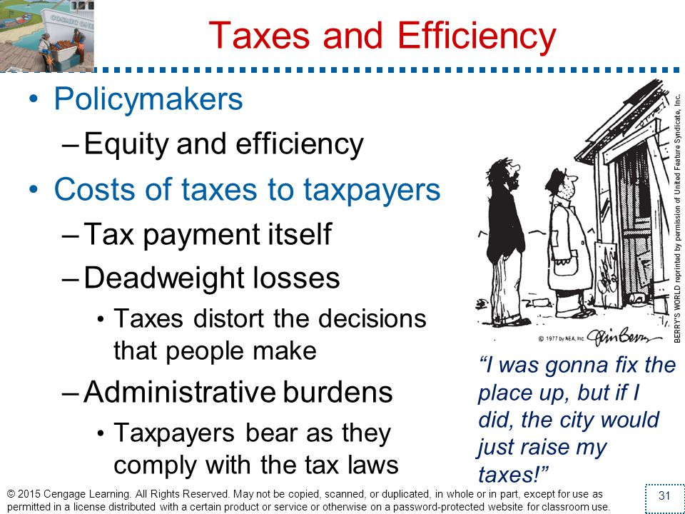 Taxes and Efficiency Policymakers Costs of taxes to taxpayers