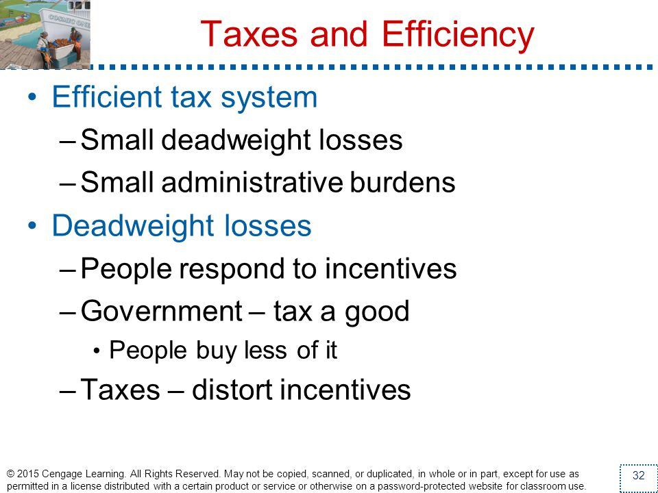 Taxes and Efficiency Efficient tax system Deadweight losses