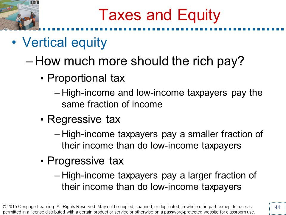 Taxes and Equity Vertical equity How much more should the rich pay
