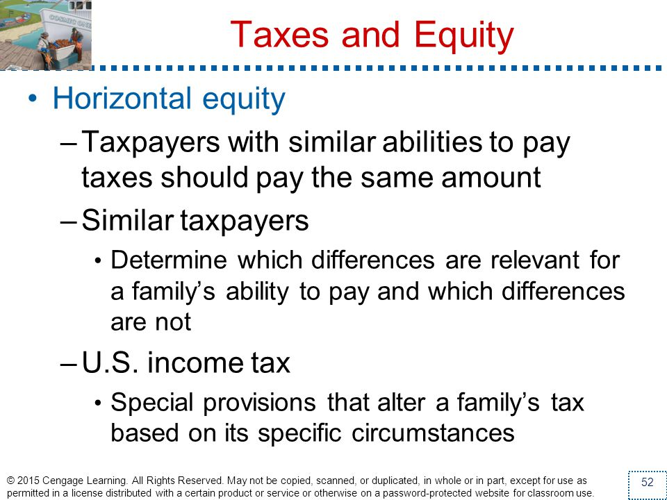 Taxes and Equity Horizontal equity