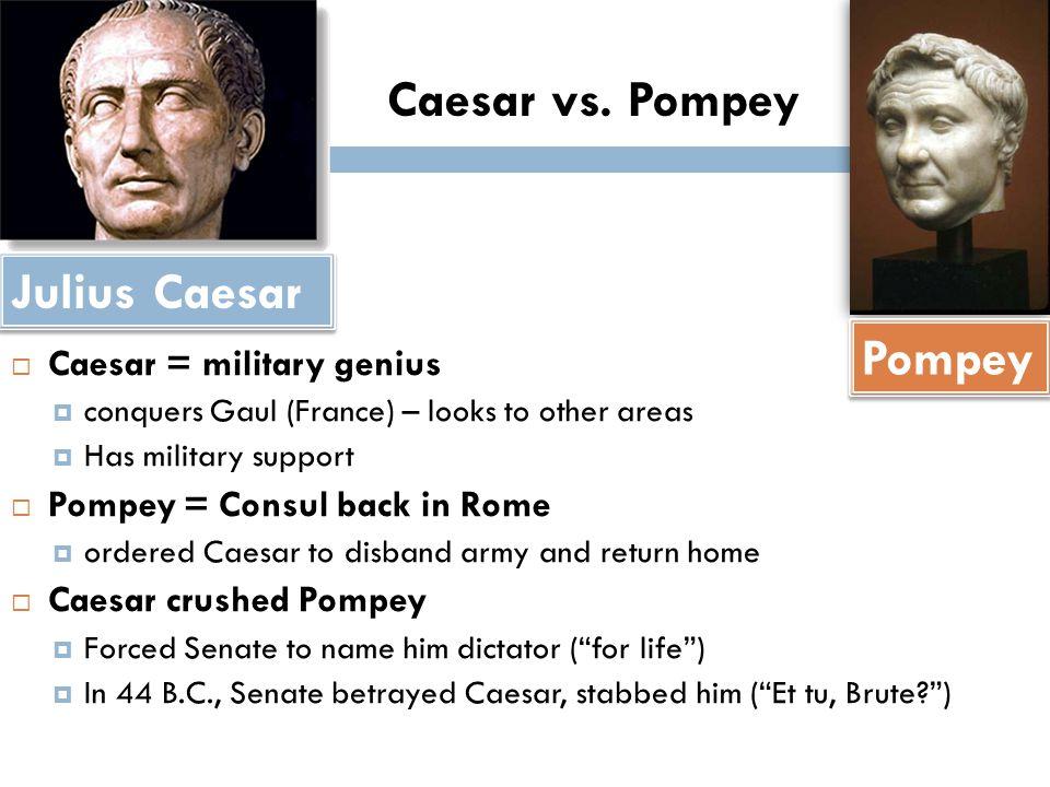 a comparison of caesar and pompey Free comparing julius caesar comparison of the two speeches in julius caesar - comparison of after the death of crassus and caesar's defeat of pompey, caesar.
