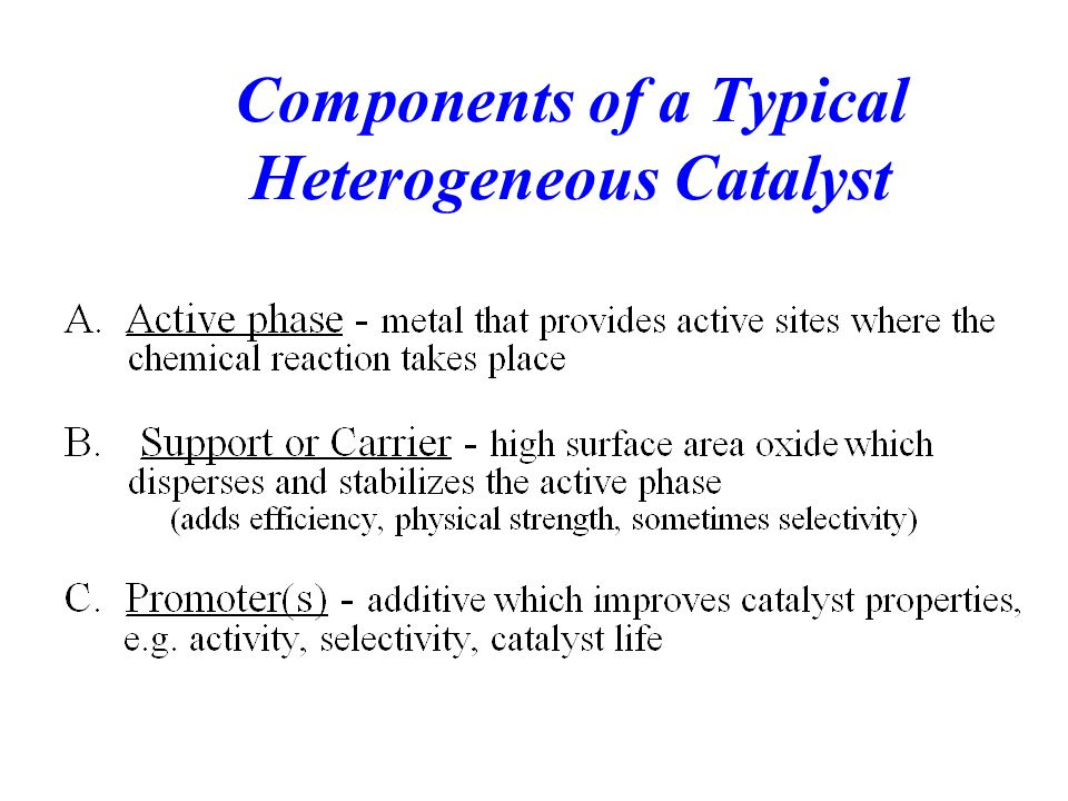 Components of a Typical Heterogeneous Catalyst