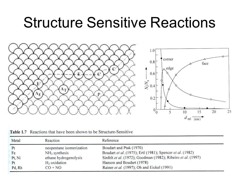 Structure Sensitive Reactions