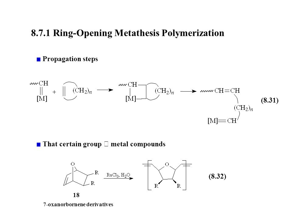 ring-opening metathesis Olefin metathesis: catalysts and catalysis • metathesis in the general sense is the formation of a product that but through a ring opening/closing pathway a.