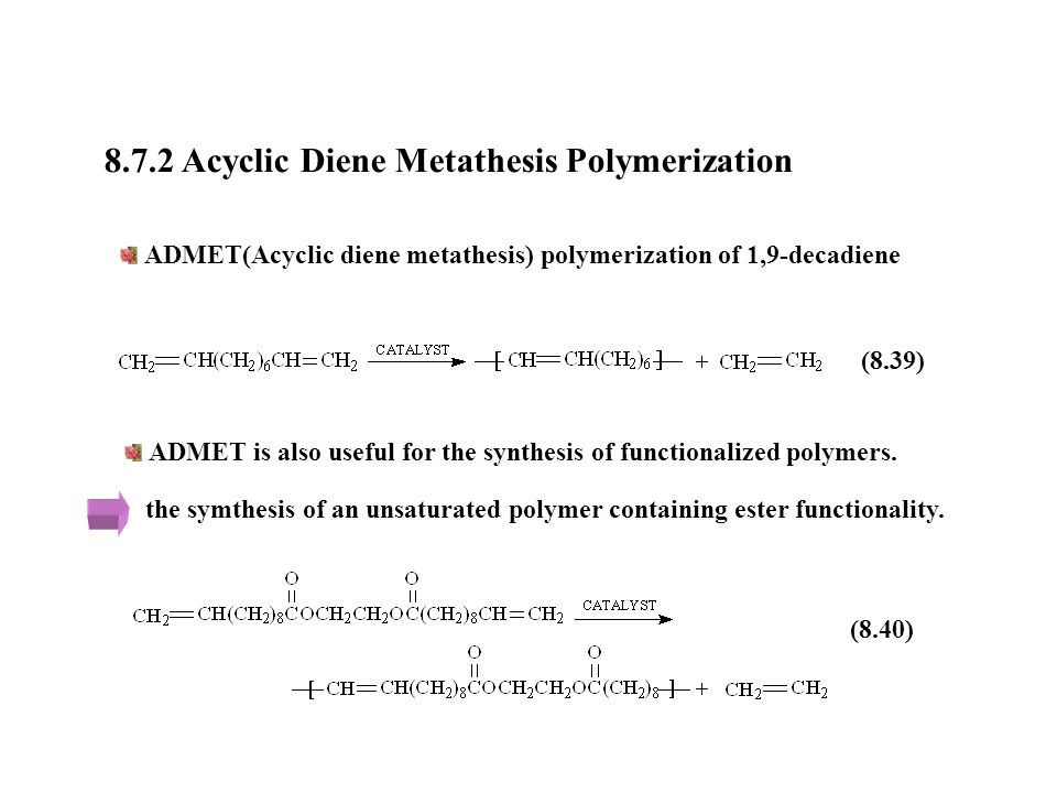 acyclic diene metathesis admet polymerization Admet, acyclic diene metathesis arget, activators regenerated by electron transfer atrp, atom-transfer radical polymerization cuaac, copper-catalysed.