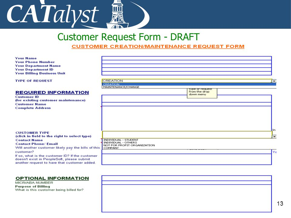 Customer Request Form - DRAFT