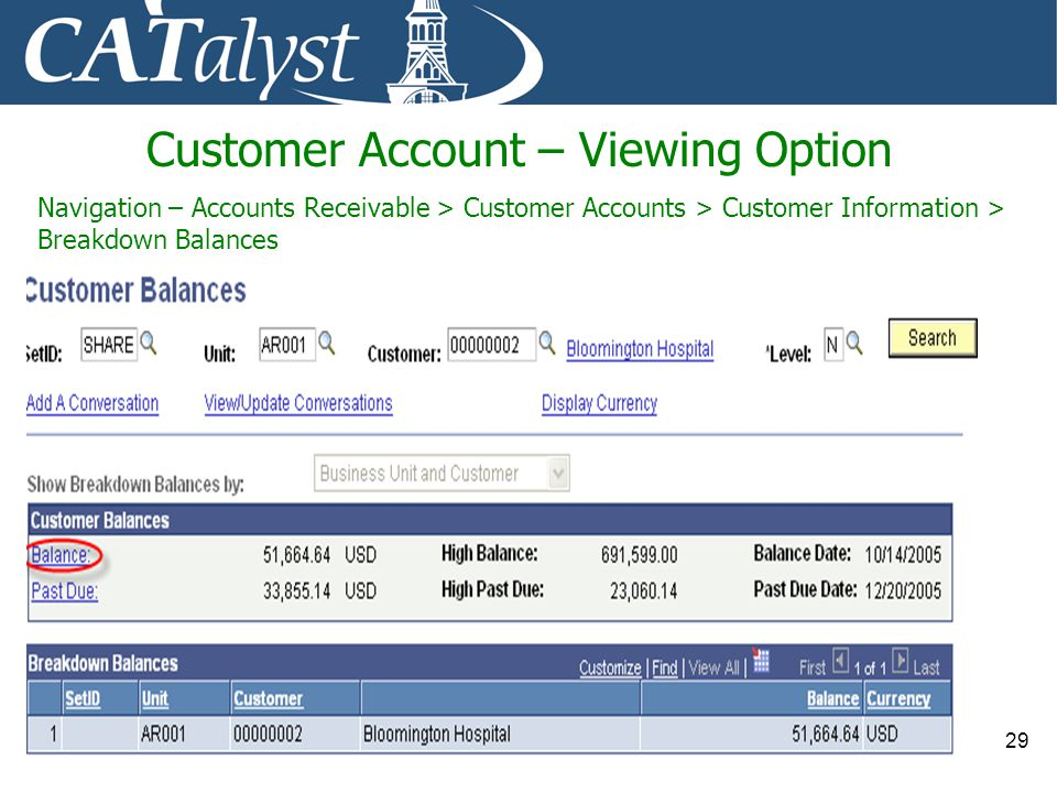 Customer Account – Viewing Option