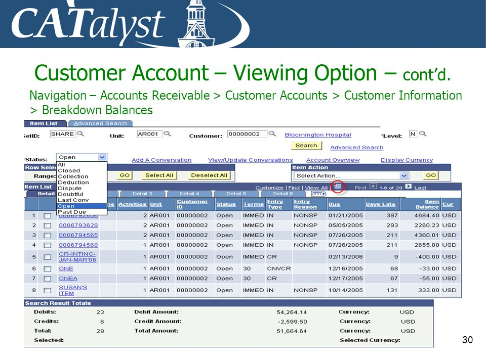 Customer Account – Viewing Option – cont'd.