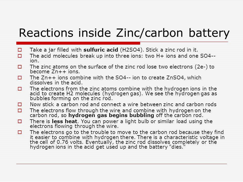 Reactions inside Zinc/carbon battery