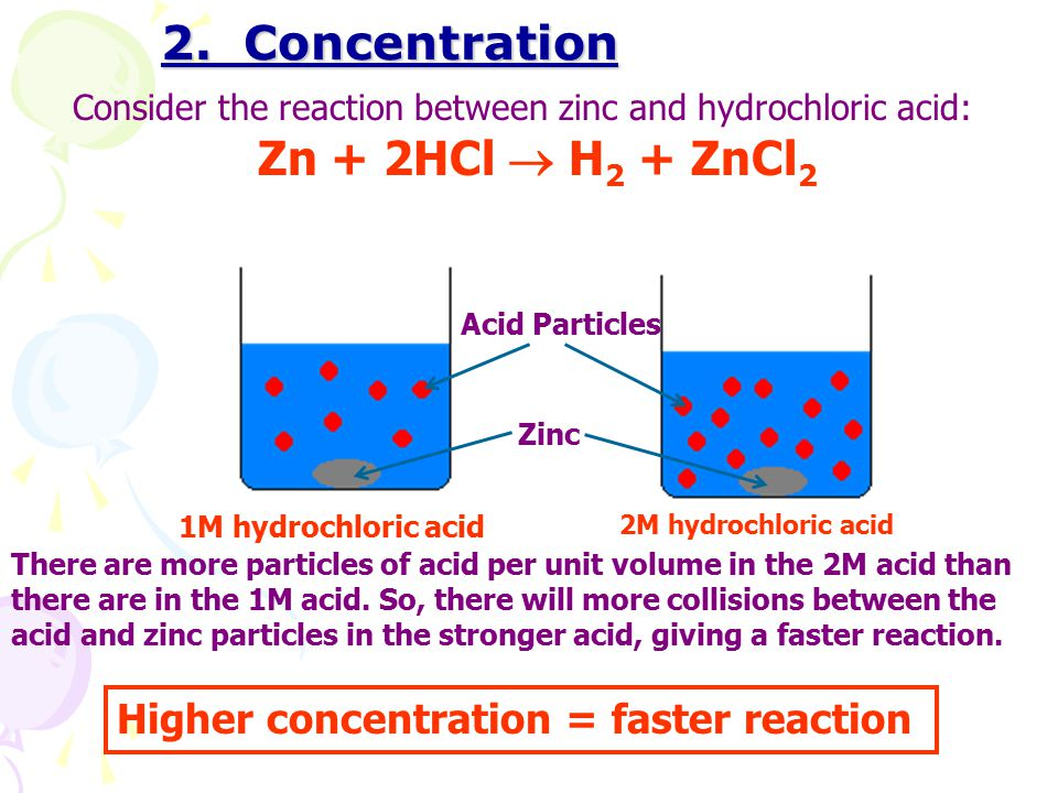 2. Concentration Zn + 2HCl  H2 + ZnCl2