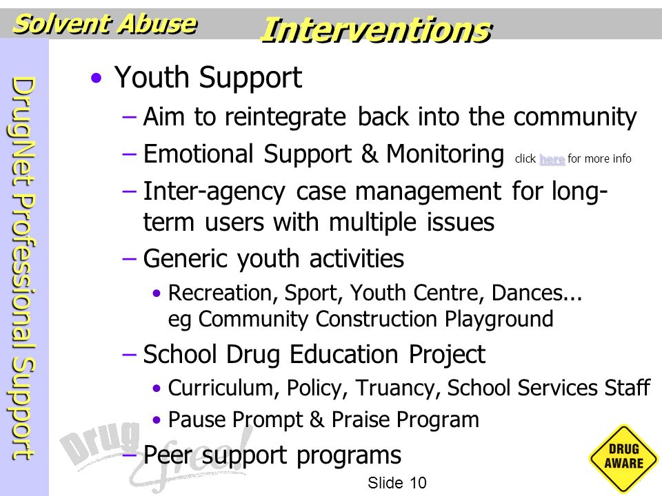 Interventions Youth Support Aim to reintegrate back into the community