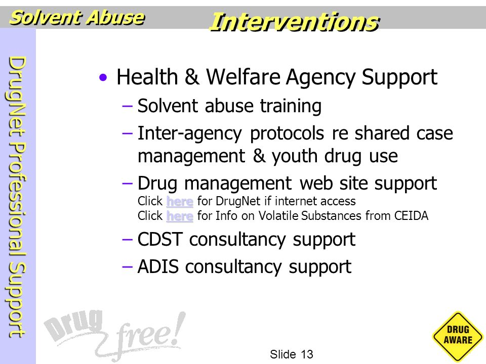 Interventions Health & Welfare Agency Support Solvent abuse training