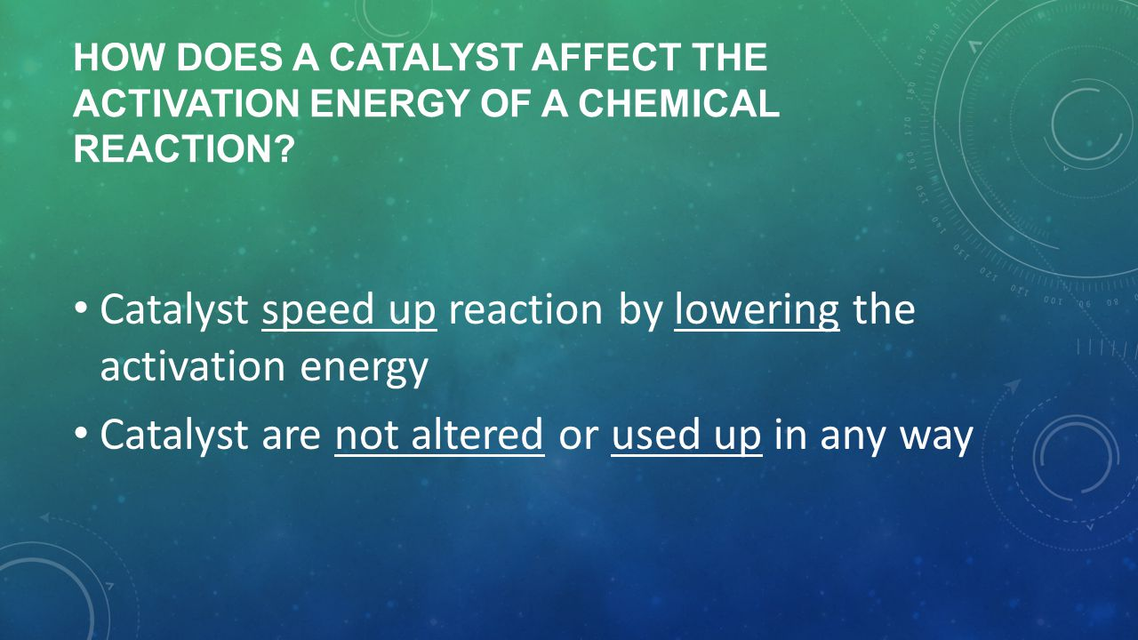 Catalyst speed up reaction by lowering the activation energy