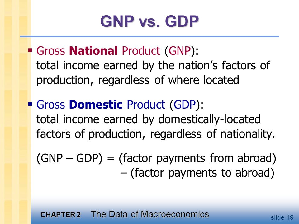 Discussion Question: What explains why GNP differs from GDP for some of the following countries