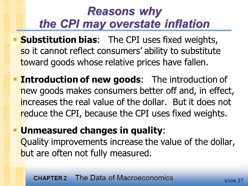 The CPI's bias The Boskin Panel's best estimate : The CPI overstates the true increase in the cost of living by 1.1% per year.