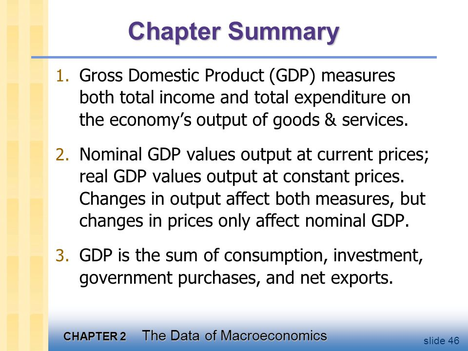Chapter Summary The overall level of prices can be measured by either