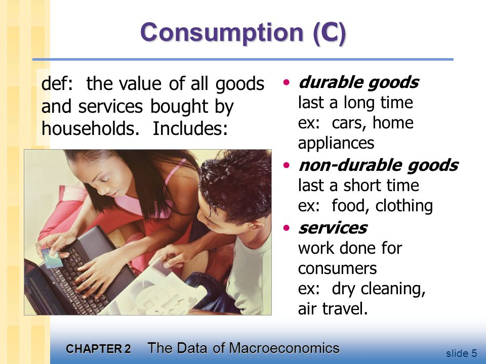 U.S. Consumption, 2001 Decompose consumption yet further.