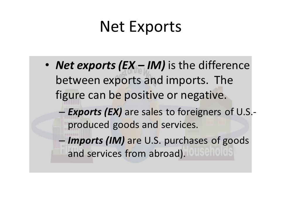 Net Exports Net exports (EX – IM) is the difference between exports and imports. The figure can be positive or negative.