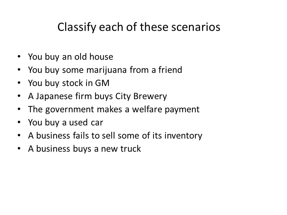 Classify each of these scenarios