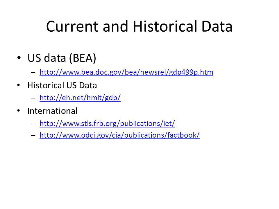 Current and Historical Data
