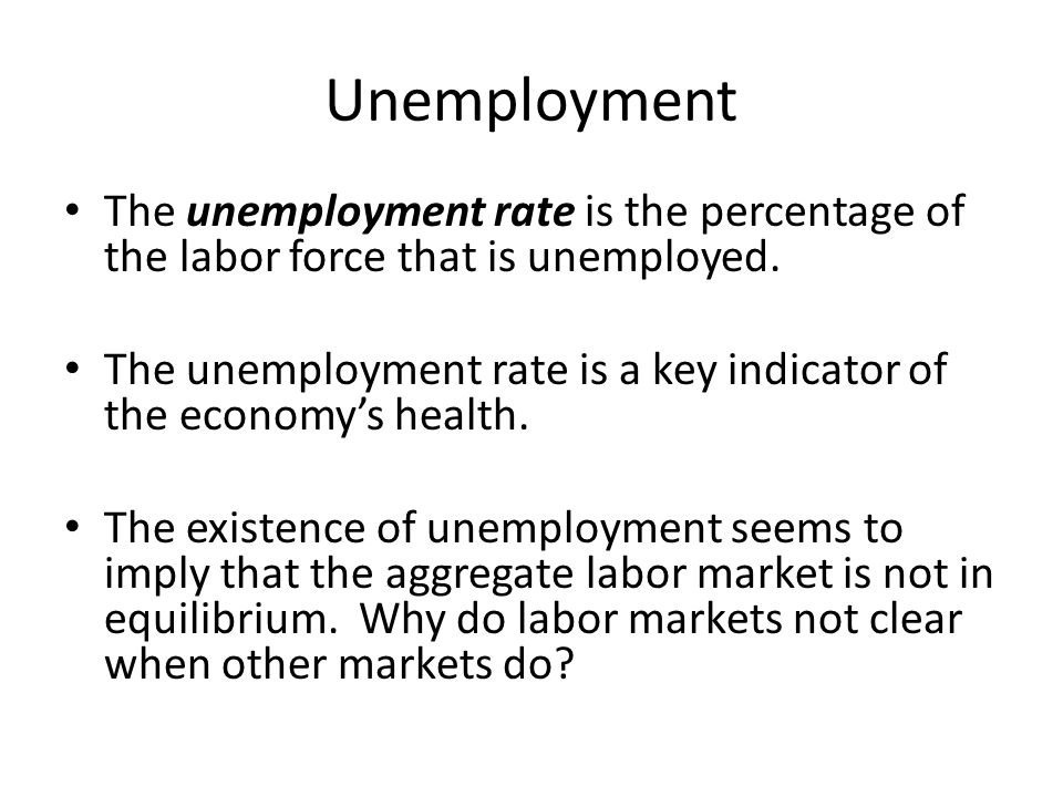 Unemployment The unemployment rate is the percentage of the labor force that is unemployed.