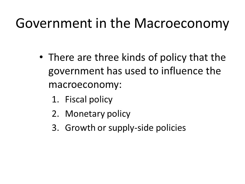 Government in the Macroeconomy