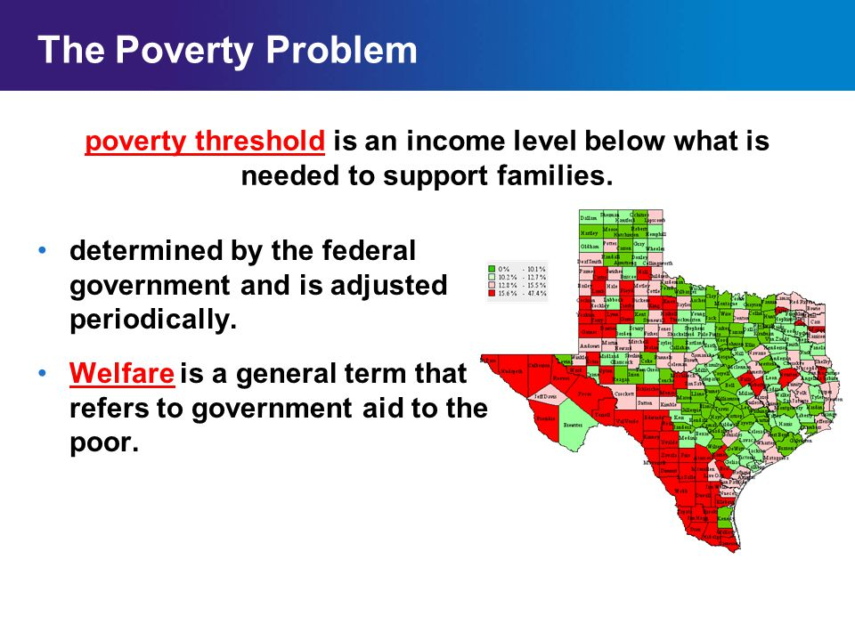 The Poverty Problem poverty threshold is an income level below what is needed to support families.