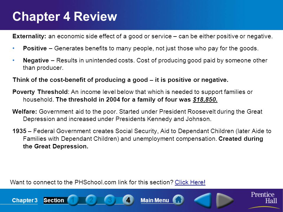 Chapter 4 Review Externality: an economic side effect of a good or service – can be either positive or negative.