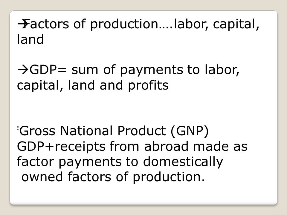 gross domestic product factors There are many different things that affect the gdp, or gross domestic product, including interest rates, asset prices, wages, consumer confidence, infrastructure investment and even weather or political instability all of the factors that affect gdp can be categorized as demand-side factors or.