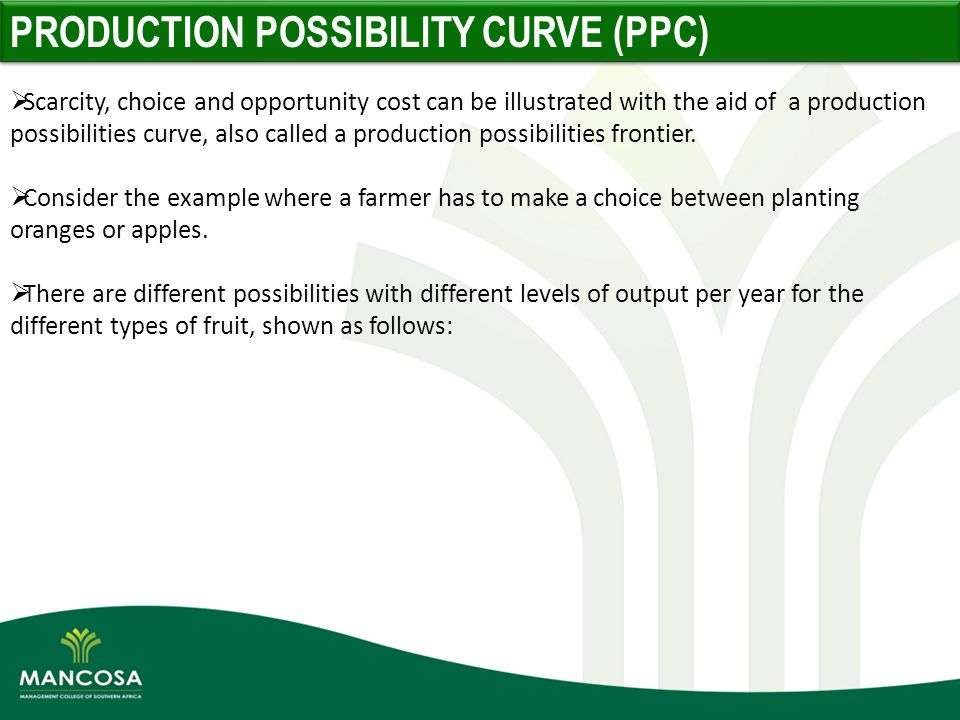 production possibility curve and different costs The shape of a production possibilities curve tells us how the opportunity cost of a good changes as output of that good increases if the ppc is bowed inwar.