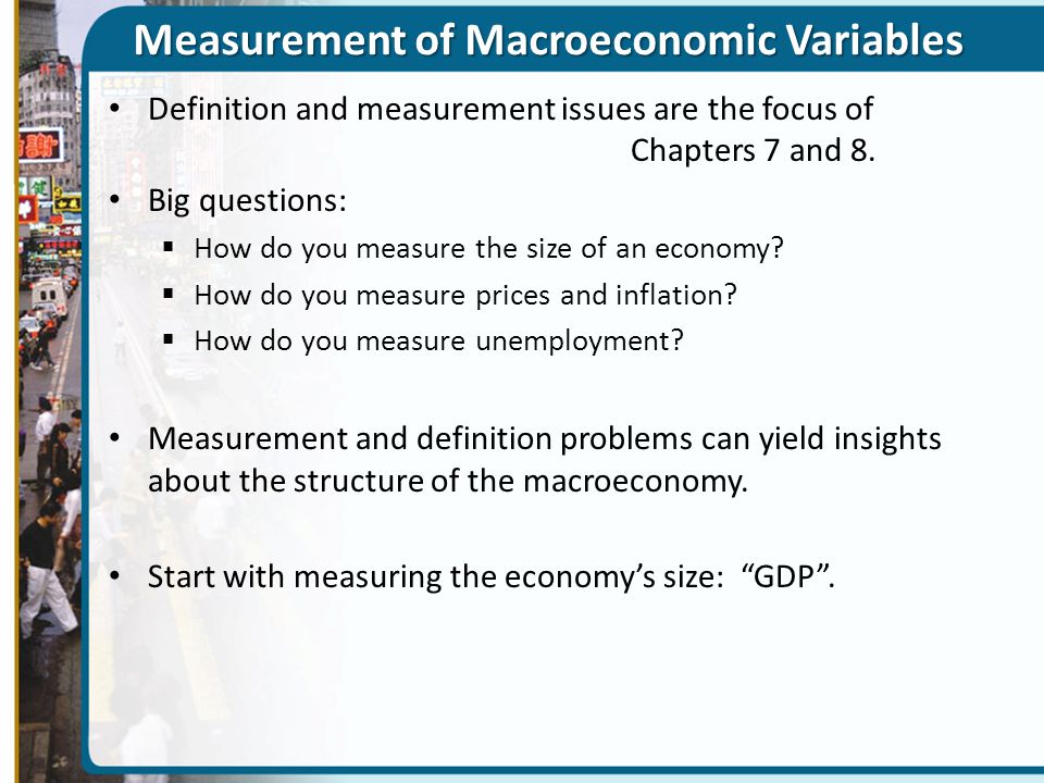 Measurement of Macroeconomic Variables