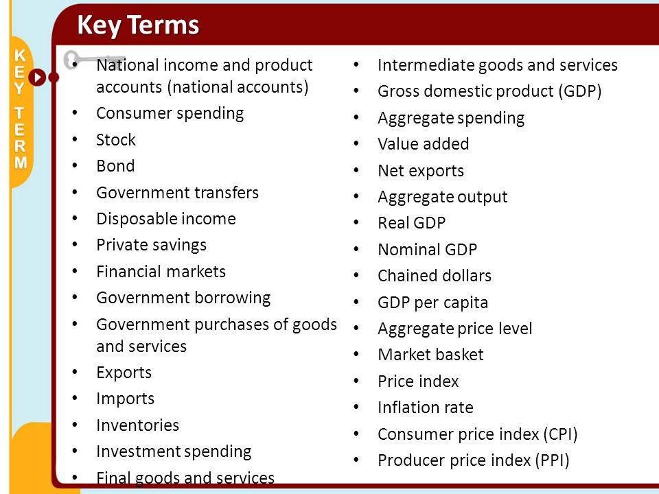 Key Terms National income and product accounts (national accounts)