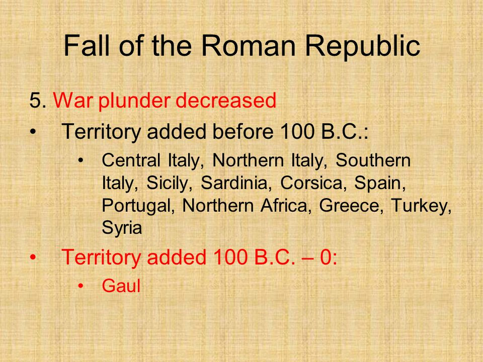 the fall of the roman republic #346: the fall of the roman republic there's been a lot written and said about the fall of the roman empire but what often gets overlooked is that before rome became an empire with what was effectively a king, it was a kingless republic.