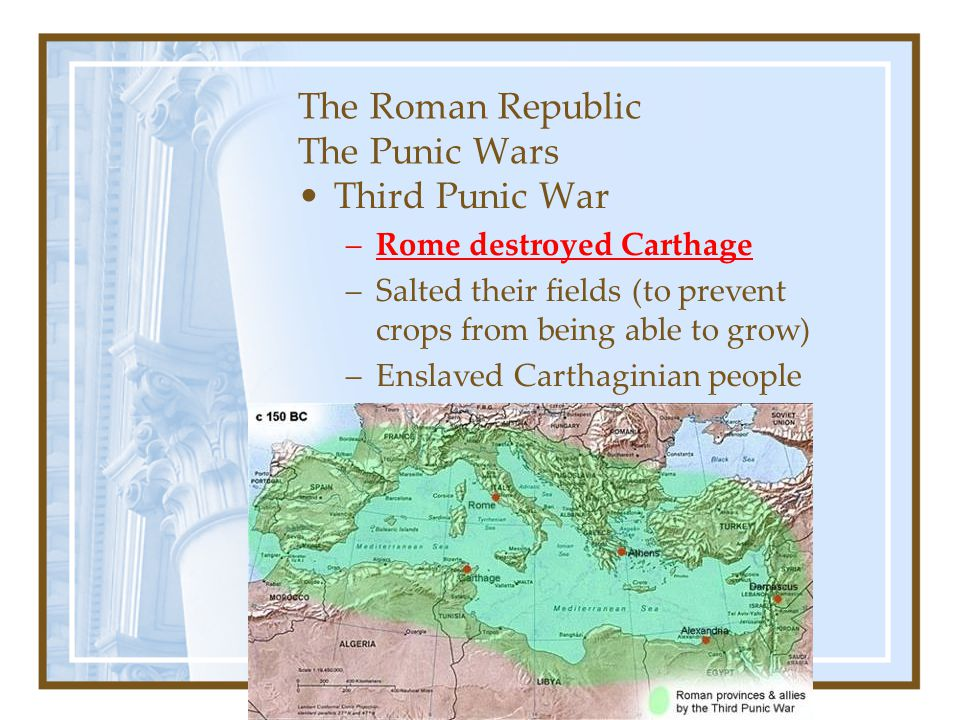 the impact of the punic wars in rome Kids learn about the wars and battles of ancient rome how the roman army conquered much of europe and fought the punic wars as well as other great battles.