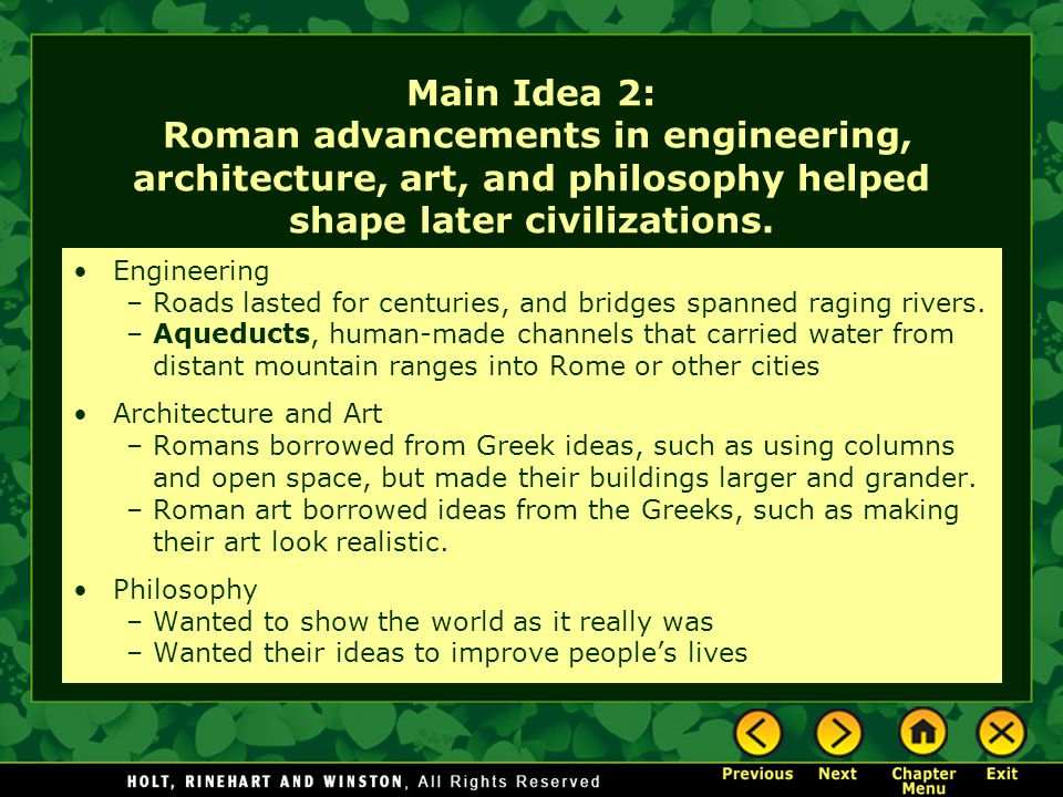 roman architectural advancements 23092011 neri oxman: architectural advancements if i were asked to describe what i love most about architecture, i would have to respond with that there are no limits.