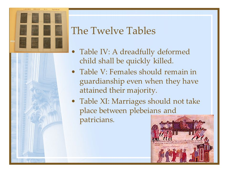 The Twelve Tables Table IV: A dreadfully deformed child shall be quickly killed.