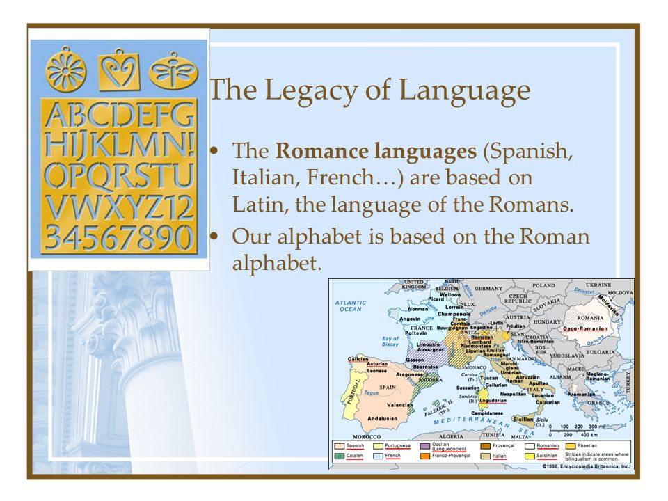 The Legacy of Language The Romance languages (Spanish, Italian, French…) are based on Latin, the language of the Romans.