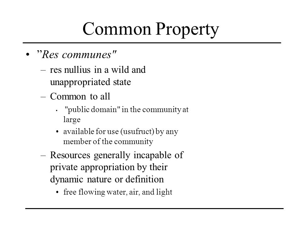 Common Property Res communes