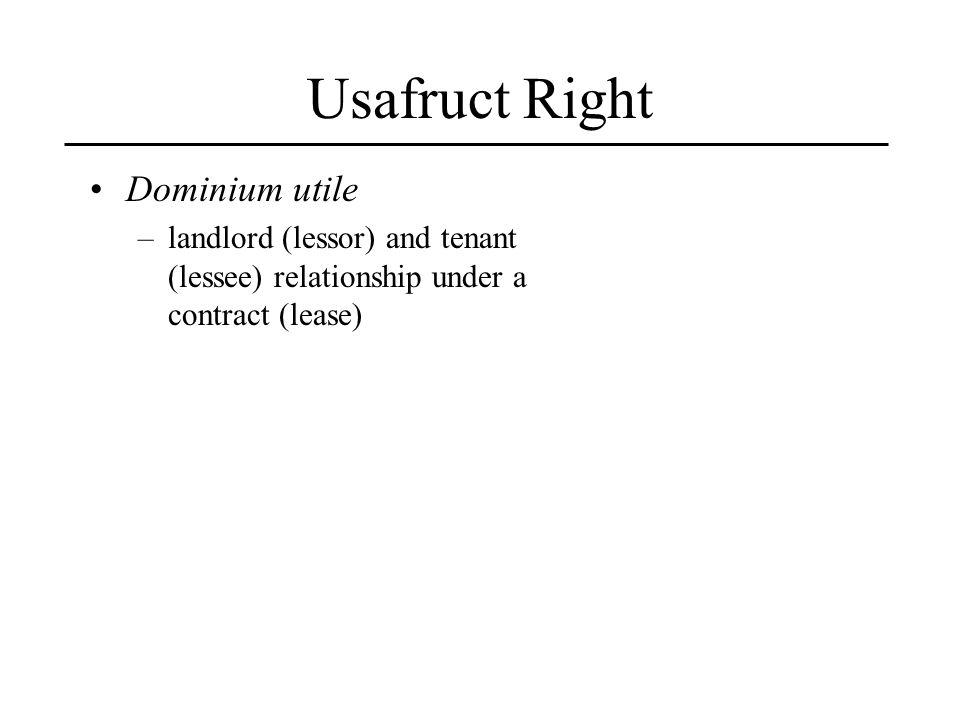 Usafruct Right Dominium utile