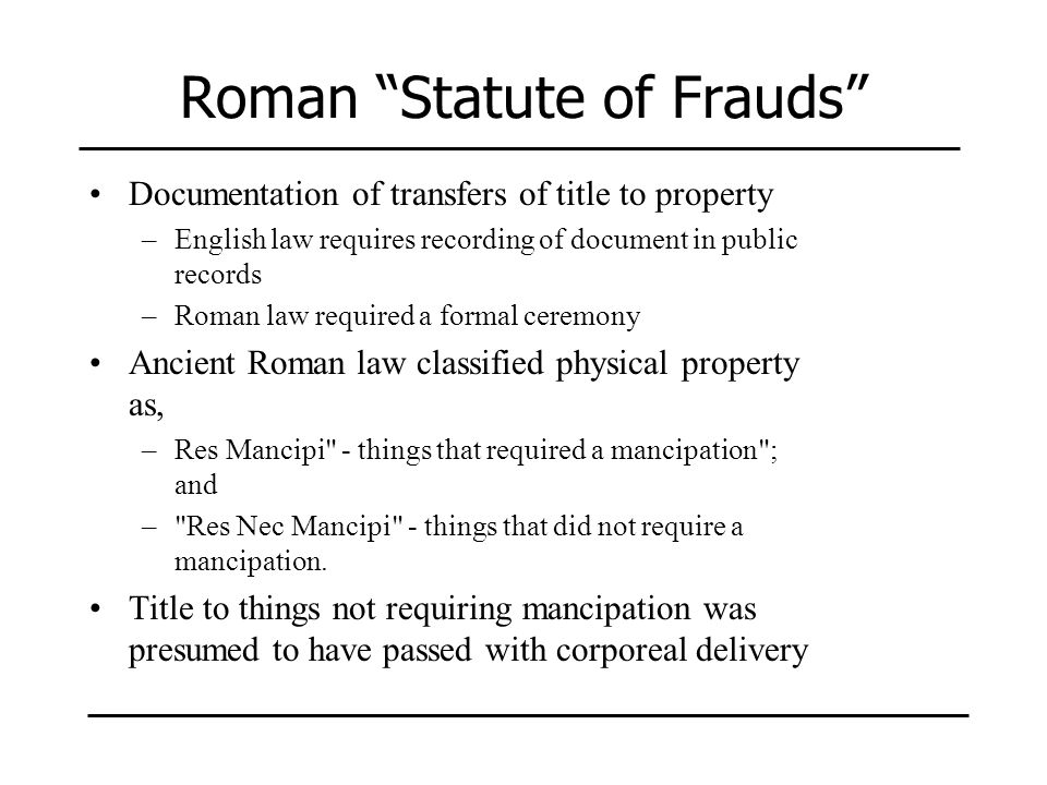 Roman Statute of Frauds