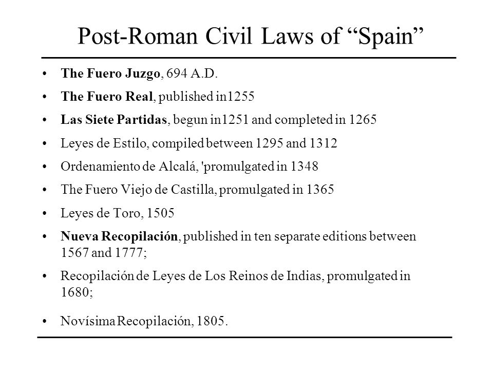 Post-Roman Civil Laws of Spain