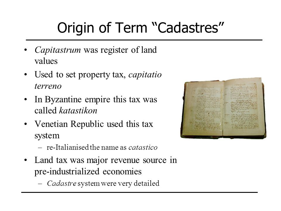 Origin of Term Cadastres