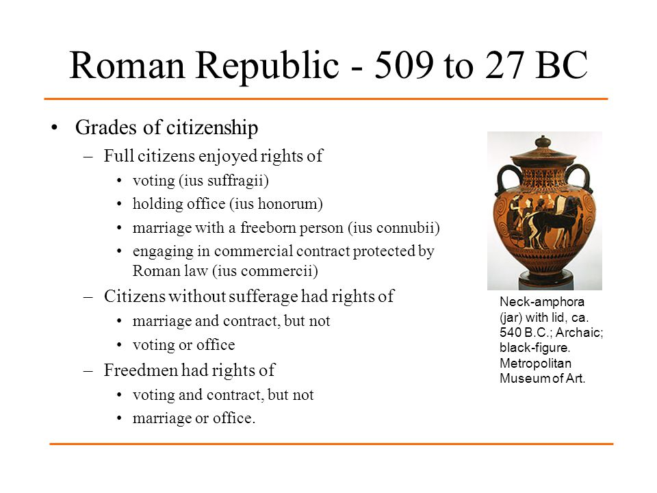 Roman Republic - 509 to 27 BC Grades of citizenship