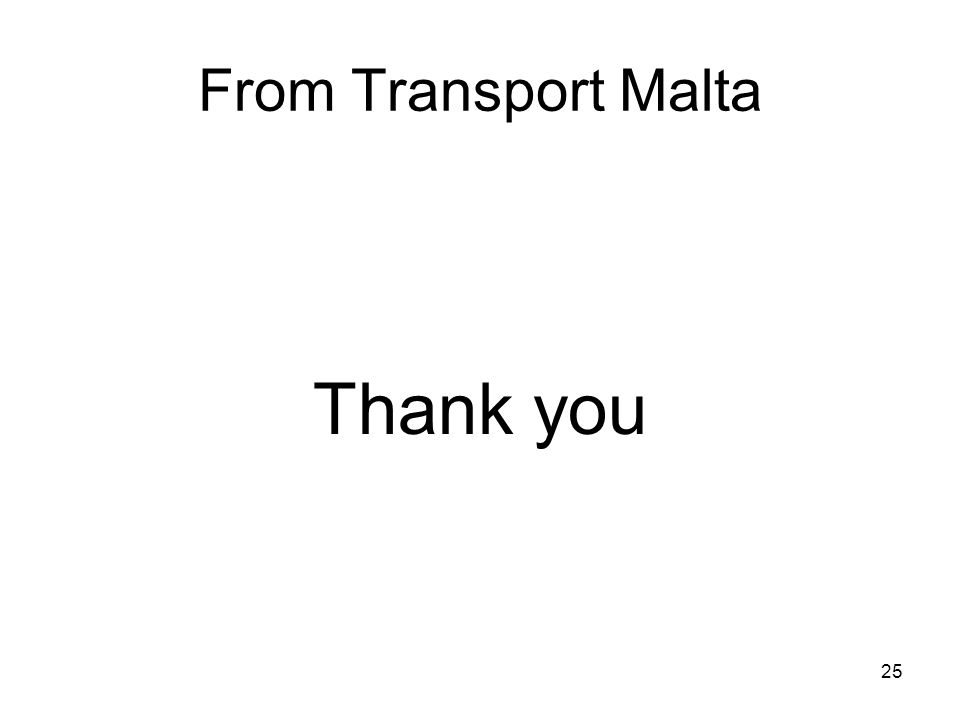 From Transport Malta Thank you