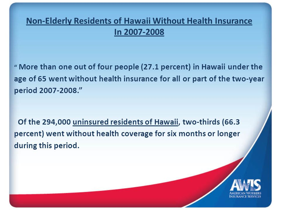 Non-Elderly Residents of Hawaii Without Health Insurance In 2007-2008