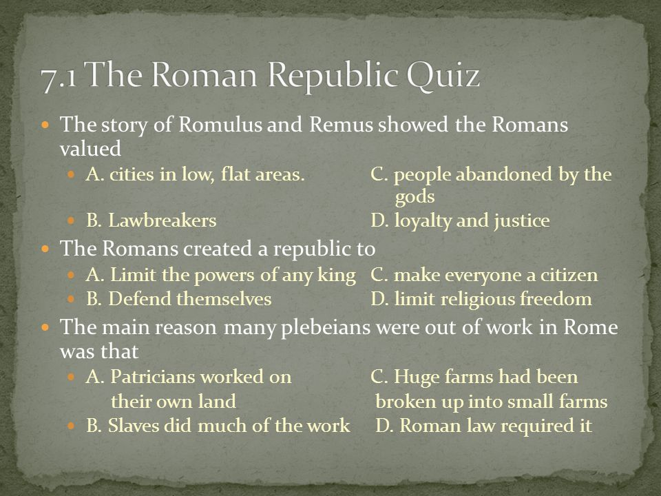 quiz roman republic Quiz about the structure of the roman republic to remain compliant with eu laws we would like to inform that this site uses cookies.