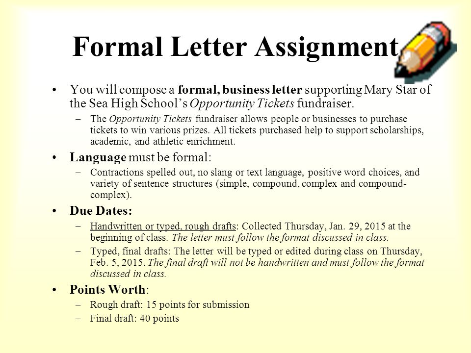 business letter assignment 40 points personal business letter assignment instructions: you will write a letter to an actual reader topics to consider: think of a college you'd like to.