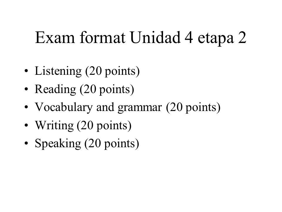 Exam format Unidad 4 etapa 2