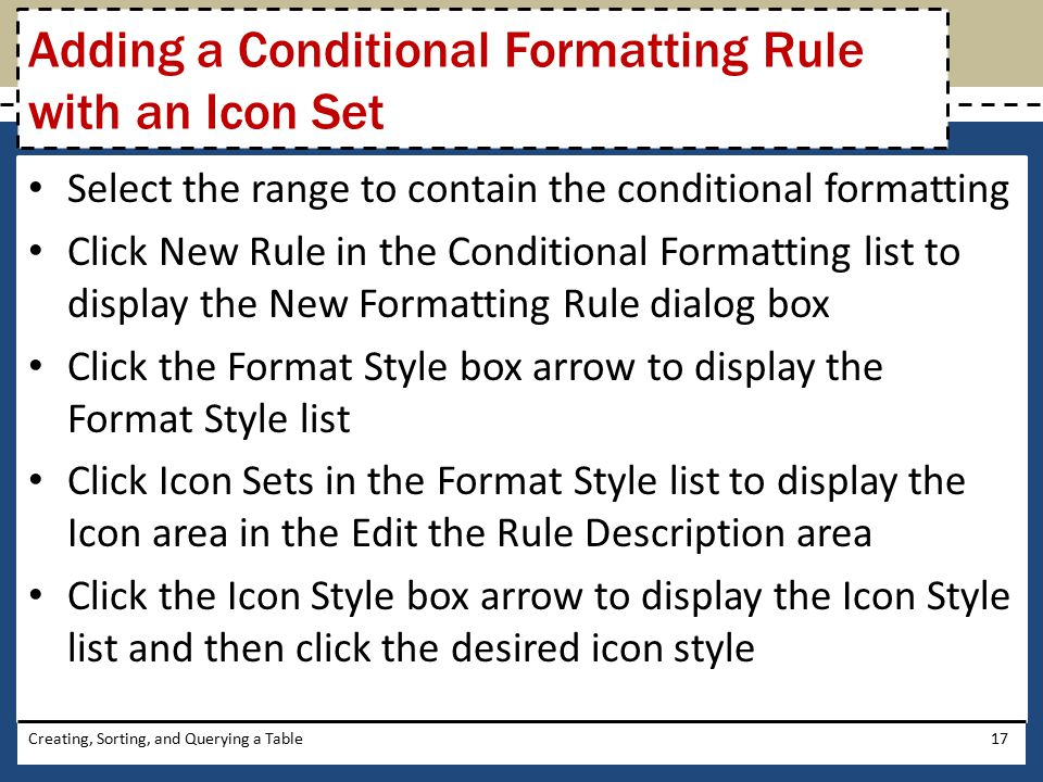 Adding a Conditional Formatting Rule with an Icon Set